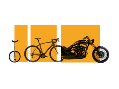 The Experience Makes the Product, Not the Features motorcycle bicycle unicycle illustration collage