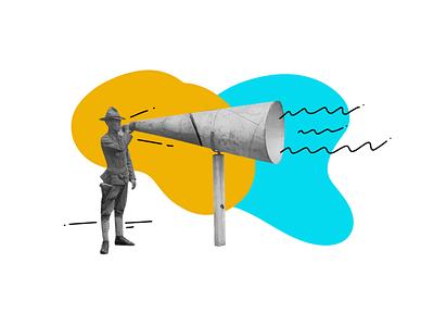 Communicate! collage illustration vintage mixed media