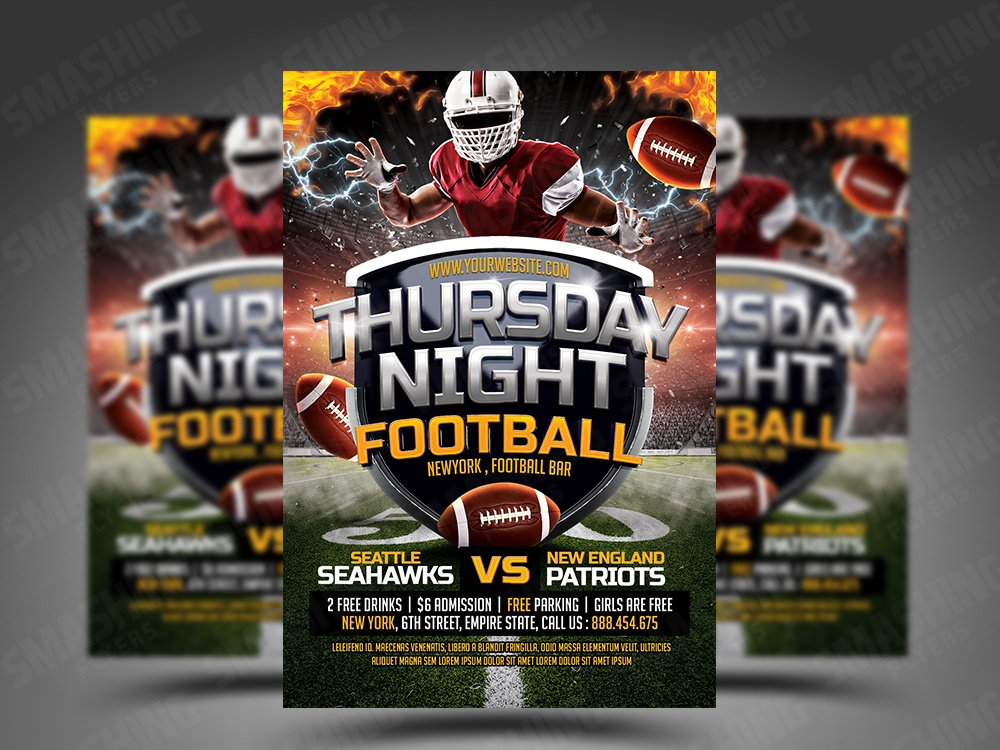 thursday night football flyer psd template by