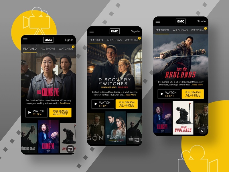 AMC Mobile Home Re-Design user testing television movies entertainment mobile app visual design ux design ui design