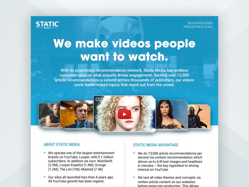 Static Media Sales Sheet entertainment movies graphic design visual design