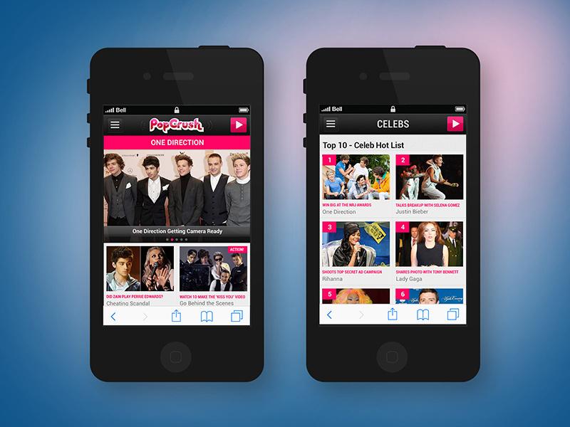 Popcrush.com Mobile-First Design responsive web design visual design ui design