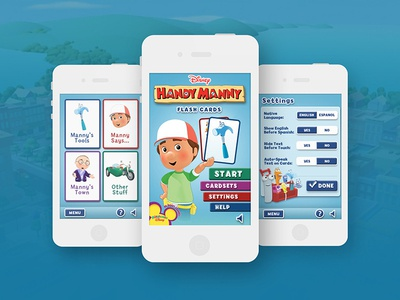 Handy Manny Flash Cards App educational game ios mobile app visual design ui design