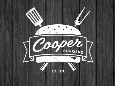 Cooper Burgers Logo identity logo burgers food fastfood restaurant meat vector style texture beef sharp shape wood black white