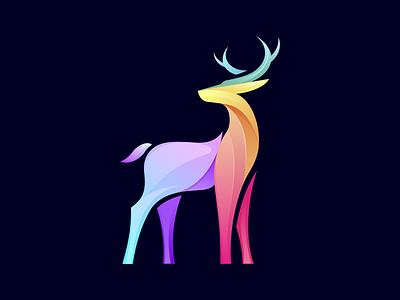 Deer logo graphic vector logo colorful deer logo deer