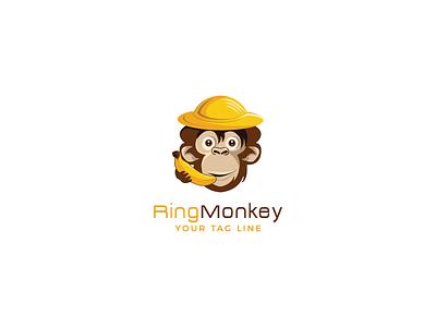 Ringmonkey monkey mascot logos app typography digital icon bread-byte-design design 3d logo baby illustration animals logo