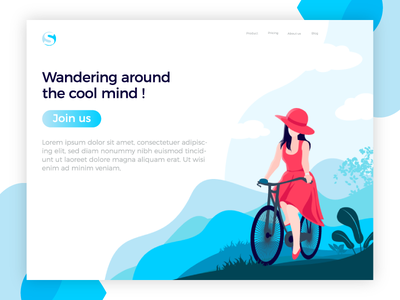 Wandering Around cycle lady cycle artwork graphic  design vector app vacations wandering wild ux ui illustration wandering around the cool mind