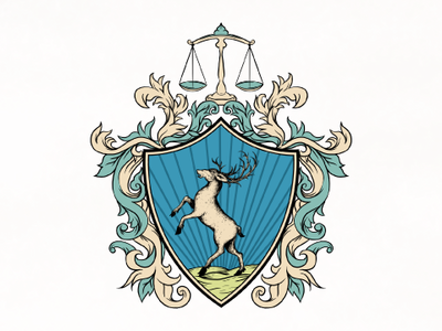 Attorney and Law company logo stage design stag coat coat of arms branding icon vector design illustration typography artwork animals logo design logo