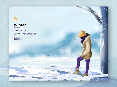 Winter winter is coming welcome to winter snow branding ux ui design vector artwork illustration winter