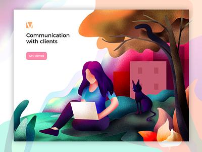 Communication Illustration graphic typography texture animals digital web woman bread-byte-design branding design app work lady laptop chat artwork ux ui vector illustration