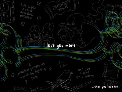 Weekly Warm-Up | Chalkboard love valentines mathart siblings vector lineart digitalart typography illustration dribbbleweeklywarmup challenge weekly warm-up weekly challenge design