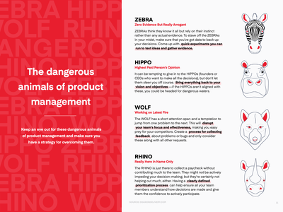 graphic   dangerous animals of prod. management   productboard typography technology saas product management lineart infographic illustration handdrawn handbook guides editorial illustration editorial design ebook design ebook