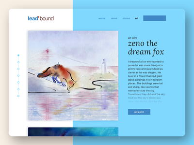 dreamedincolor.me | art print page ecommerce magical fox watercolor painting art print watercolor digitalart ux ui branding challenge weekly warm-up weekly challenge typography design illustration