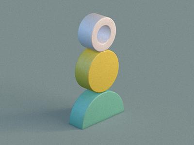 Primitive Stack green lime white yellow cinema4d c4d illustration render 3d art 3d primitivegeometry primitives shapes design