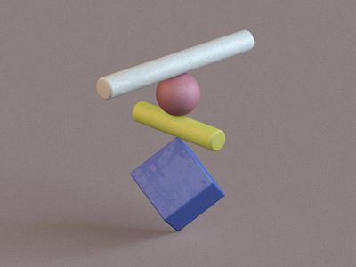 Primitive Stack 2 white blue purple yellow red shapes render primitives primitivegeometry illustration design cinema4d c4d 3d art 3d