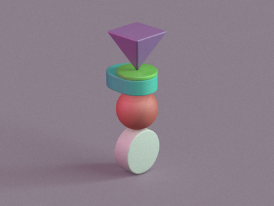 Primitive Stack 3 green purple cinema4d c4d design illustraion primitivegeometry primitives 3d artist 3d art render shapes