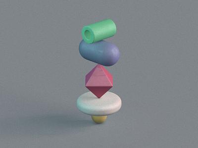 Primitive Stack 4 cinema4d c4d white red yellow blue green design render 3d artist primitivegeometry primitives shapes 3d art 3d