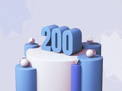 Two Hundred 200 primitivegeometry blue illustration 3d render cinema4d c4d 3d art design