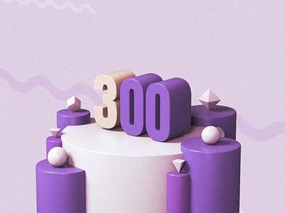 Three Hundred 300 primitives purple illustration 3d render cinema4d c4d 3d art design