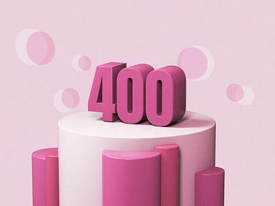 Four Hundred pink red 400 illustration 3d render c4d cinema4d 3d art design
