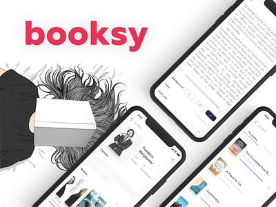 Booksy social review mobile media follower feedback ux design reader reading app reading book app book clean ux ui ios app