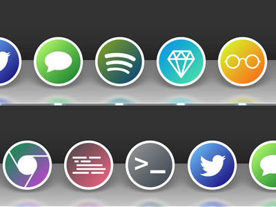 App icons icon chrome sublimetext sketch readkit spotify twitter tweetbot terminal messages