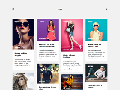 Leap - Fashion Ghost Theme by Haunted Themes ghost theme website card pinterest masonry blog fashion theme ghost