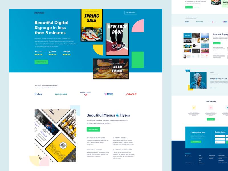 Raydiant - Digital Signage Tool colorful sales ui design brandious yellow white green blue landing modern minimal clean