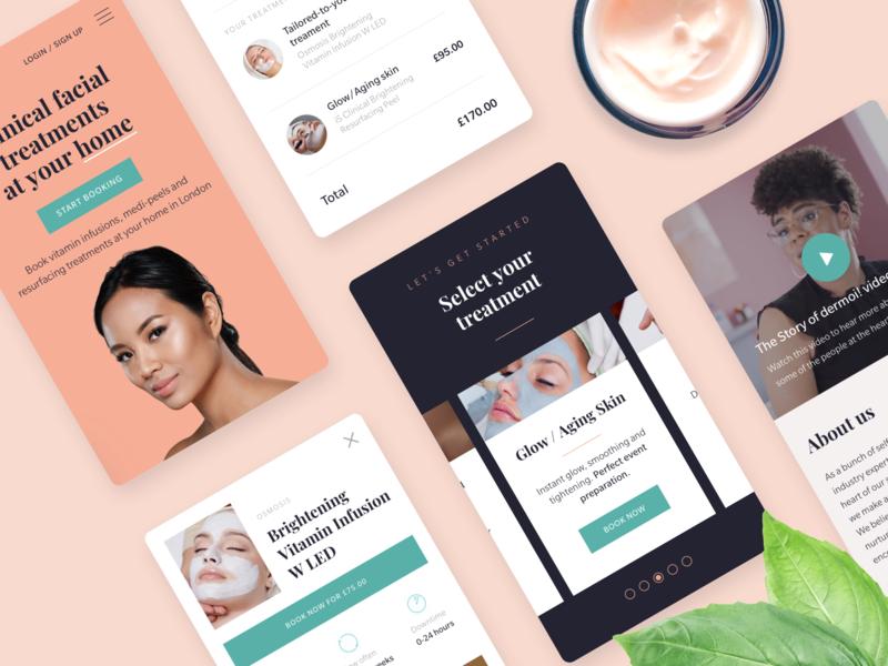 dermoi! Mobile modern ecommerce healthcare health beauty contrast dark pink pastel simple minimal clean flat ui responsive iphone ios mobile web app