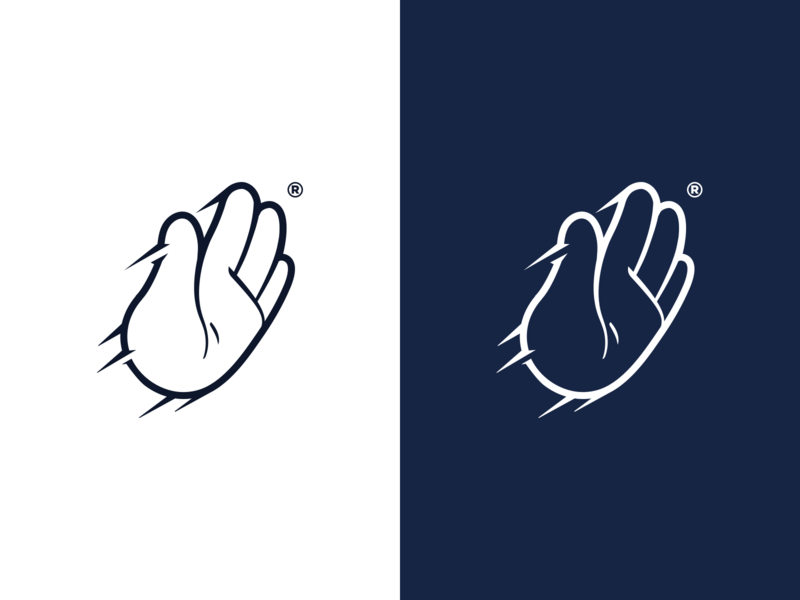 DigitalPush hand lettering hit movement dynamic stop curves clean modern logotype logodesign symbol shape simple push hand branding logo