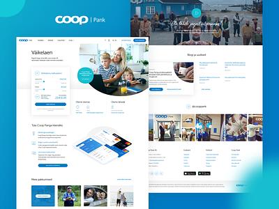 Coop Bank estonia minimal modern clean turqoise blue landing bank