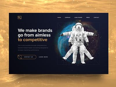 Marketing Agency Homepage davinci esotheric dark gold galaxy universe space astronaut vitruvian man wip homepage landing