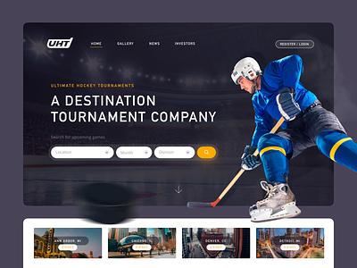Ultimate Hockey Tournaments black hockey logo logo grey yellow dark ui modern concept fantasy sports hockey landing