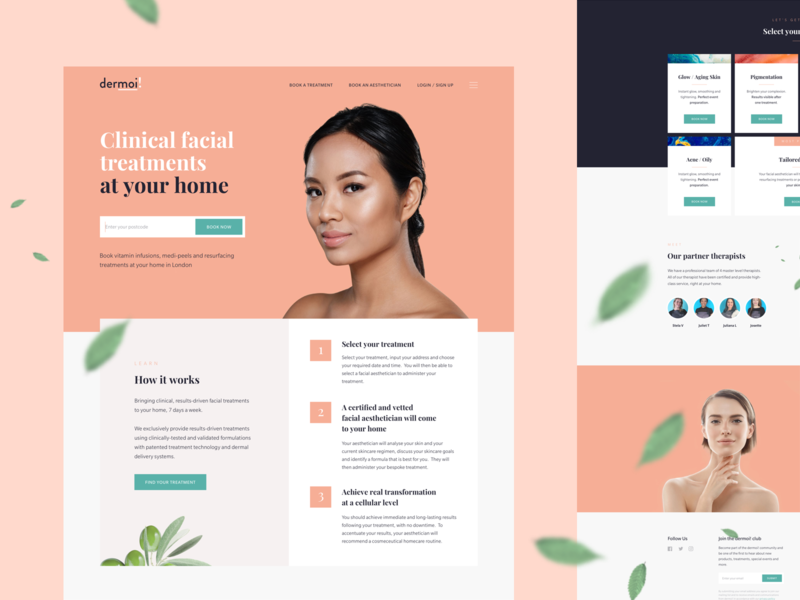 Facial Treatment Startup Homepage olive eco flat spa design white minimal modern clean beauty salon peach landing service beauty