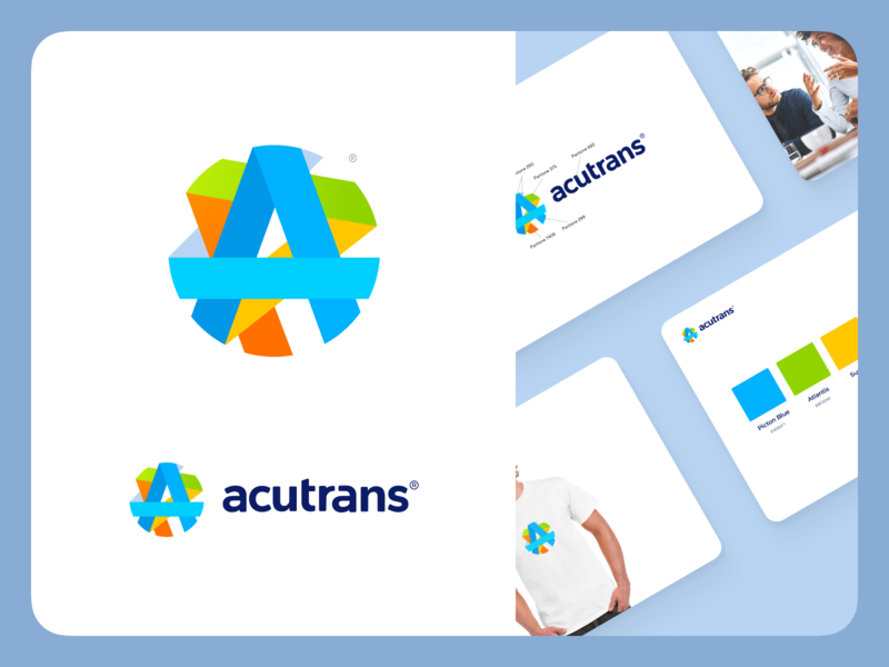 Acutrans Branding yellow white clean slide presentation contrast bright minimal modern flat orange green blue vivid logo branding translation