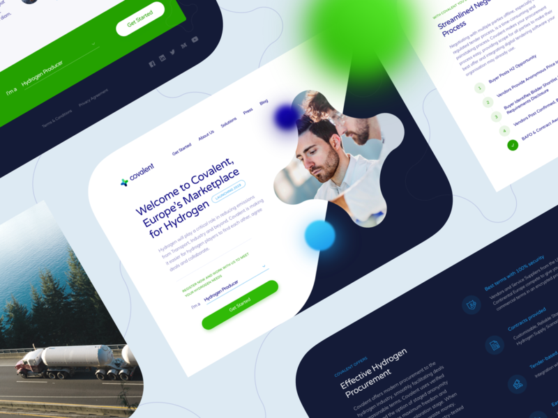 Covalent Homepage homepage landing minimal modern molecule clean ui eco water clean blue and white green blue landing page marketplace hydrogen chemistry