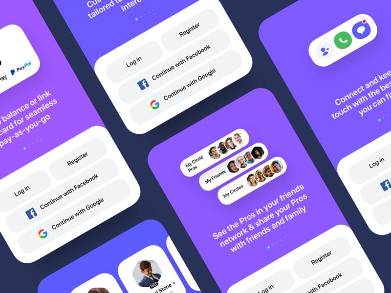 iOS App Onboarding Slides google facebook carousel friends onboarding screen simple ui illustration flat modern minimal clean colors purple preview mobile ios app ios slider onboarding