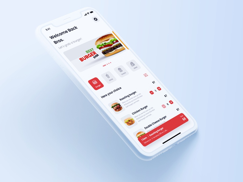 BrosBurger - Online order burger ( Food Delivery ) business adobe xd ux experience graphic app mobile design user interface