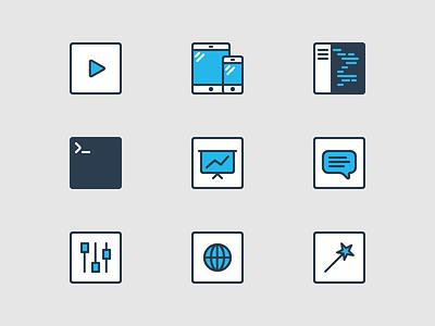 ThemePatio Icon Set blue outline vector minimal icons