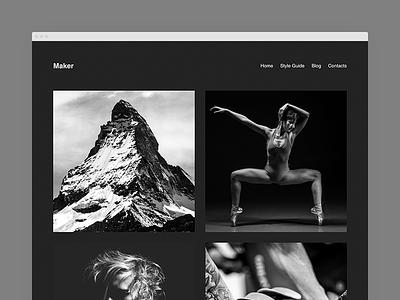 Maker Dark Color Scheme layout grid wordpress portfolio wordpress theme dark minimal