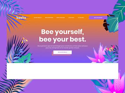 🖥• Homepage • Beelix design parallax typography illustration interaction homepage branding animation ux ui