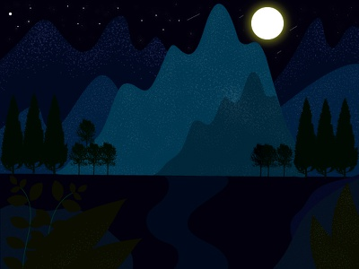 Dreamy Nightsky mountains trees forest nature moon stars sky night illustration