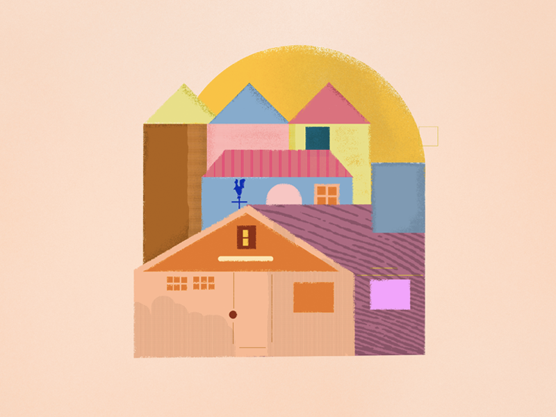 Myhouse pastel color houses icon branding ecommerce ux ui summer illustration