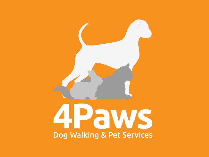 4Paws Logo Design rabbit cat pets dog walker dogs