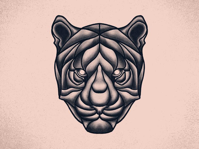 Tiger tigers branding illustration vintage animal tattoo stippling texture wild cat panther tiger