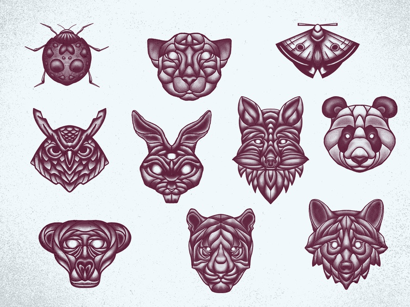 WIldlife roundup apparel merch branding illustration tattoo texture monkey owl panther wolf fox panda moth tiger animals wildlife wild