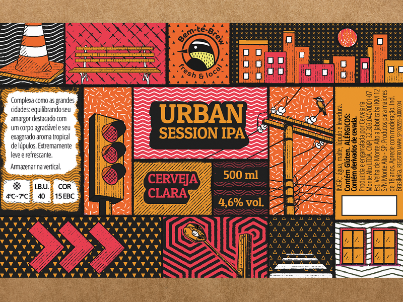 Urban Session IPA - Beer Label ipa session urban bird grit texture illustration packaging brew brewery bottle craft craft beer beer label