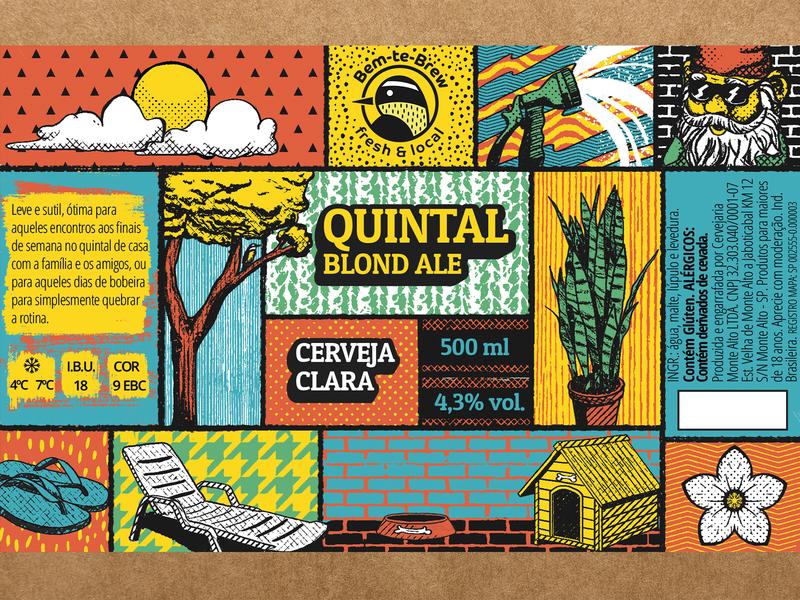 Quintal Blond Ale - Beer Label texture branding illustration bottle packging brewery brew craft craft beer label beer