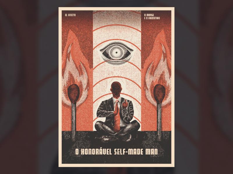 Monge e o Executivo Poster branding rock illustration yoga eye match fire engraving grit texture el efecto executive monk monge poster gig gig poster