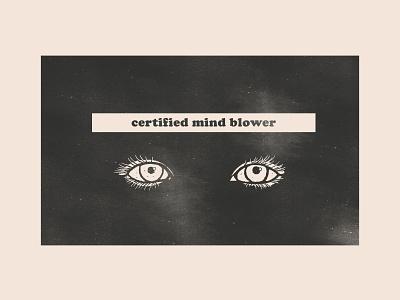 Certified mind blower sticker anthem party anthem arctic monkeys rock music gig mind blower blower mind eye certified editorial illustration texture indie